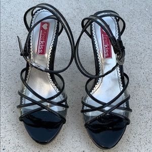 First Kiss strap high heels patent leather sandals